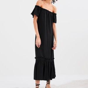 ZARA RUFFLED RUSTIC DRESS  BLACK - 2674/003